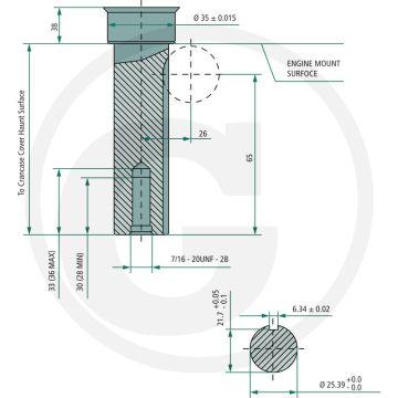 Motor LONCIN LC2P77F - 17 CP - ax: Ø 25,40mm - lungime ax: 80mm