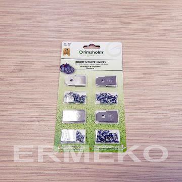 Set cutite (36 cutite + 36 suruburi) pentru robot tuns gazon HUSQVARNA 1200R, R38LI, R40LI, R45LI, R50LI, R70LI, R80Li, R160, Sileno, Sileno+, 210CC, 220AC, 230ACX - ER-F91108338/36